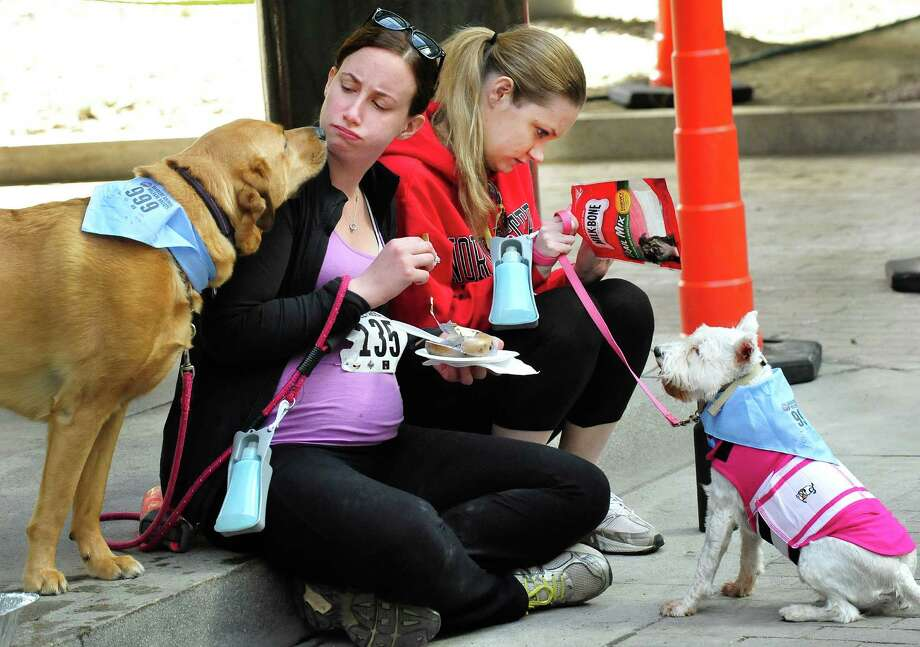 "Runners and their dogs, including Candiee Calhoon and Calle, left, and Jenna Partola and Brie, fuel up before the Danbury Animal Welfare Society's ""Run Your Tail Off 5K"" road race took place at the Matrix Center in Danbury, Conn. Sunday, April 28, 2013. Runners ran with their dogs as a fundraiser to support DAWS no kill shelter. Photo: Michael Duffy / The News-Times"