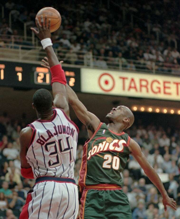 In 1996, Gary Payton and the SuperSonics were at it again. A season after the Rockets' second win in the NBA Finals, Seattle made quick work of Houston in a 4-0 sweep during the West semifinals. Game 1 set the tone as the Rockets were blown out 105-78. The next three losses were by seven points or fewer, which was of little consolation. Photo: File Photo, Houston Chronicle