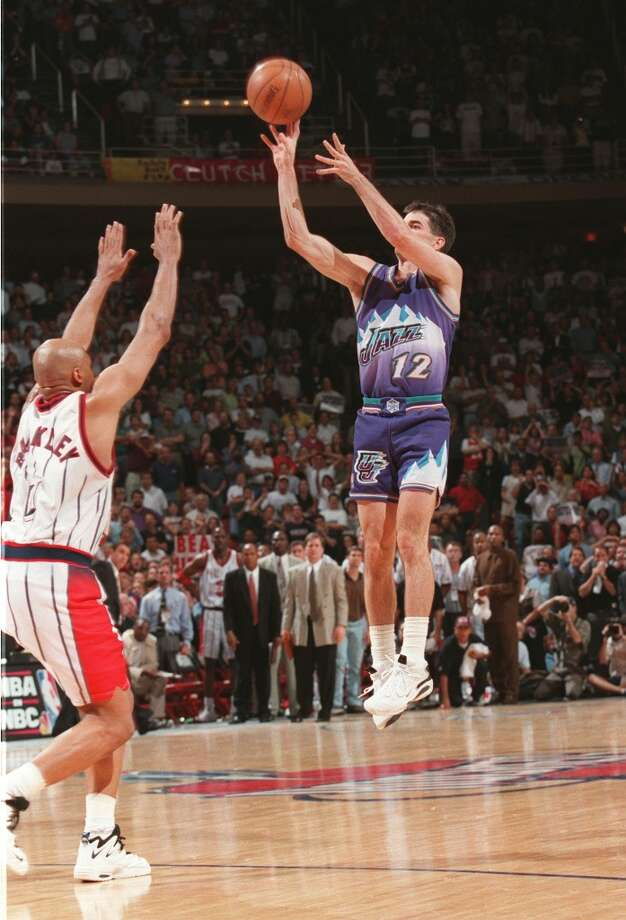 In the 1997 Western Conference Finals, the Rockets were trying to push the Jazz to Game 7. But with two seconds remaining in Game 6, the Rockets lost track of Jazz point guard John Stockton on the inbounds play and Houston forward Charles Barkley couldn't close out in time. Stockton drilled the now-infamous 3-pointer sending Utah to the NBA Finals to meet the Chicago Bulls. Photo: File Photo, Houston Chronicle