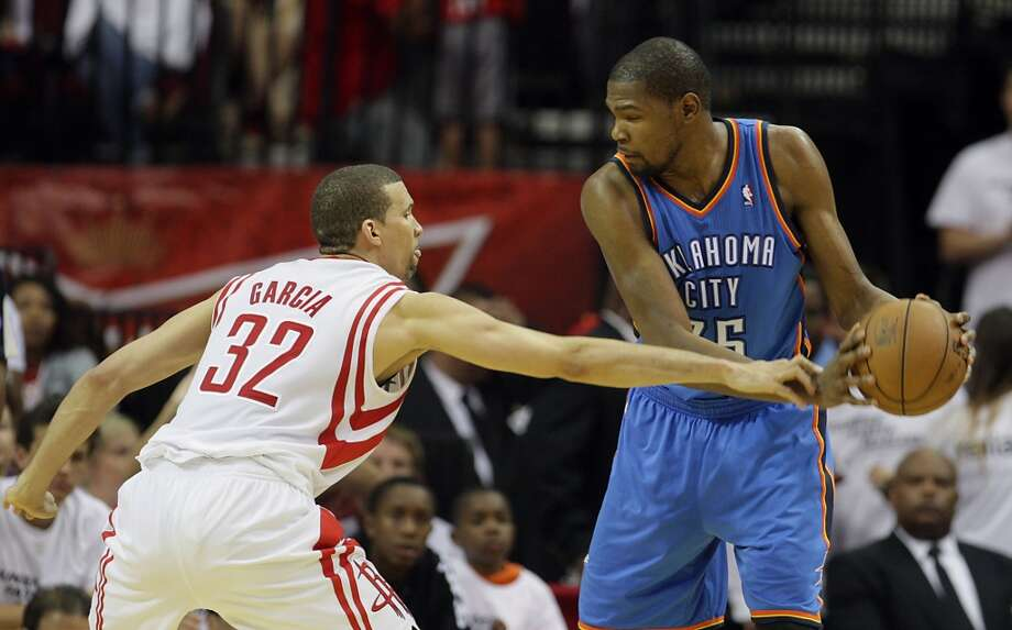 In Houston's first playoff series since 2009, Oklahoma City's Kevin Durant was a Rockets killer in their 2013 first-round matchup. He did it without Russell Westbrook in Game 3, all but sealing the series for the Thunder with a 104-101 win. Durant could be heard boasting 'this is my city' on the court. Photo: James Nielsen, Houston Chronicle