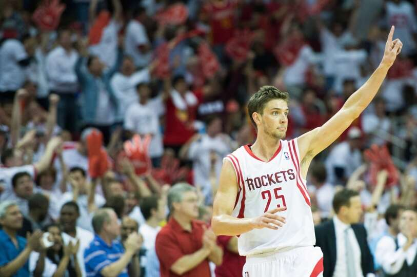 Rockets forward Chandler Parsons celebrates after hitting a 3-pointer to tie the game at 91-91 durin