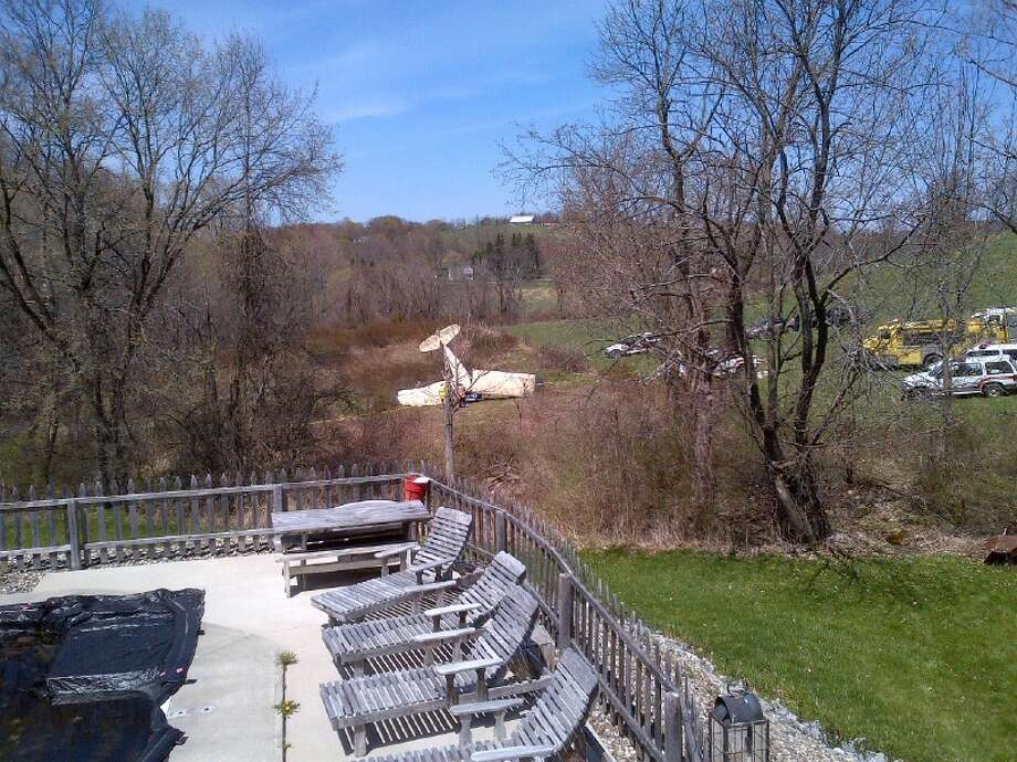 The sight from Rensselear County Legislator Stan Brownell's home of a plane crash April 28. 2013. (Photo courtsey of Stan Brownell)