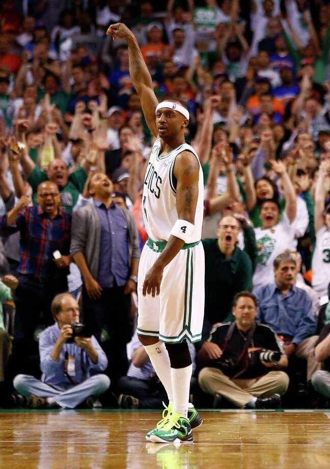 BOSTON, MA - APRIL 28: Jason Terry #4 of the Boston Celtics celebrates after hitting a three-point shot against the New York Knicks in overtime during Game Four of the Eastern Conference Quarterfinals of the 2013 NBA Playoffs on April 28, 2013 at TD Garden in Boston, Massachusetts. NOTE TO USER: User expressly acknowledges and agrees that, by downloading and or using this photograph, User is consenting to the terms and conditions of the Getty Images License Agreement. (Photo by Jared Wickerham/Getty Images) Photo: Jared Wickerham, Getty Images / 2013 Getty Images