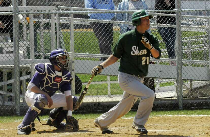 Shenenedehowa's Justin Yurchak gets a hit during their boy's high school baseball game against Troy