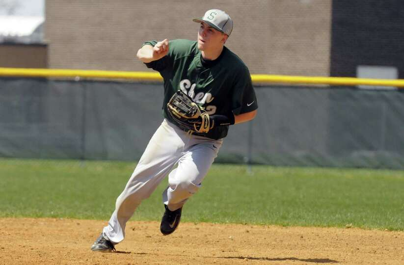 Shenendehowa's Nick Guinta during their boy's high school baseball game against Troy on Saturday Apr