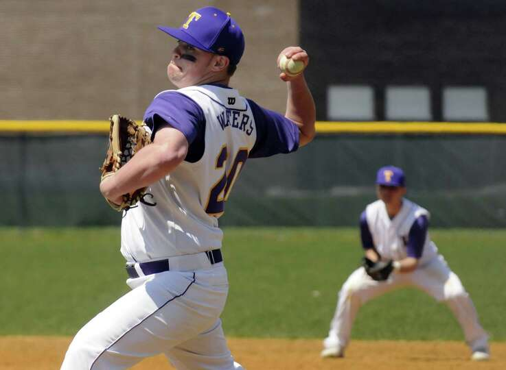 Troy's James Waters pitches during their boy's high school baseball game against Shenendehowa on Sat