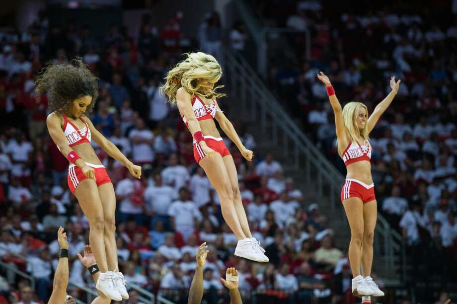 Houston Rockets Power Dancers perform during Game 3 of a Western Conference first-round playoff series against the Oklahoma City Thunder at Toyota Center on Saturday, April 27, 2013, in Houston. Photo: Smiley N. Pool, Houston Chronicle