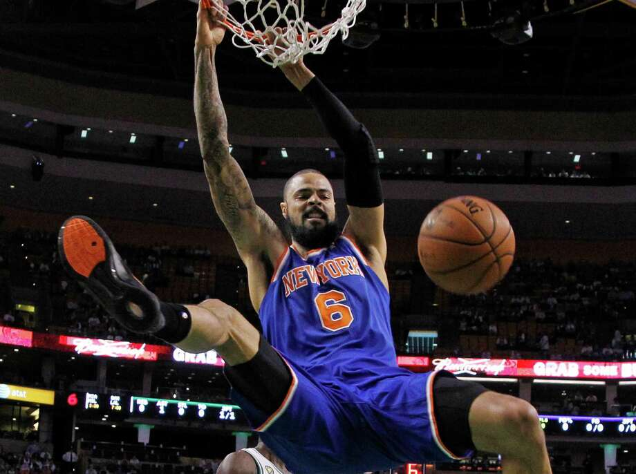 New York Knicks center Tyson Chandler (6) dunks against the Boston Celtics during the first half in Game 4 of a first-round NBA basketball playoff series in Boston, Sunday, April 28, 2013. (AP Photo/Elise Amendola) Photo: Elise Amendola