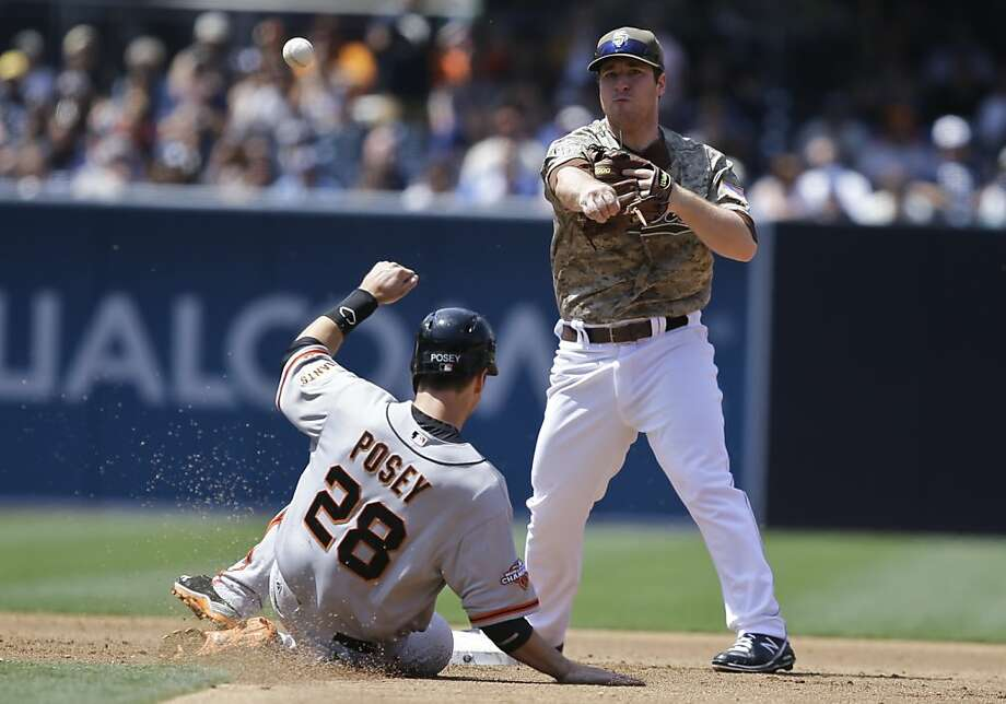 San Diego Padres second baseman Jedd Gyorko fires a relay throw over San Francisco Giants' Buster Posey to complete a double play in the third inning of a baseball game in San Diego, Sunday, April 28, 2013. (AP photo/Lenny Ignelzi Photo: Lenny Ignelzi, Associated Press