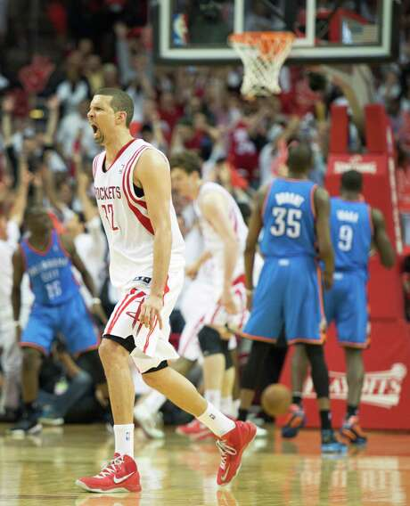 Francisco Garcia puts the Rockets in position to win Game 3 with a go-ahead 3-pointer with 45 seconds to play, but the joy was short-lived. Photo: Smiley N. Pool, Staff / © 2013  Houston Chronicle
