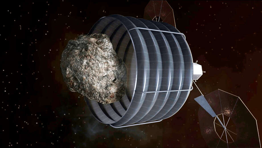 An artistic conception of a solar-electric-powered spacecraft designed to capture a small asteroid and relocate it to a stable orbit in the Earth-moon system. Astronauts aboard the Orion space capsule could then approach the object close enough to study it.