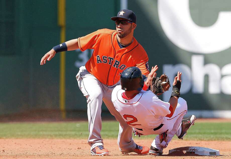 Astros shortstop Marwin Gonzalez has the ball waiting for Jacoby Ellsbury on a failed stolen-base attempt in the third inning Sunday. Photo: Jim Rogash, Stringer / 2013 Getty Images