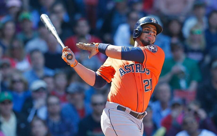 Fernando Martinez of the Astros strikes out with the bases loaded. Photo: Jim Rogash, Getty Images