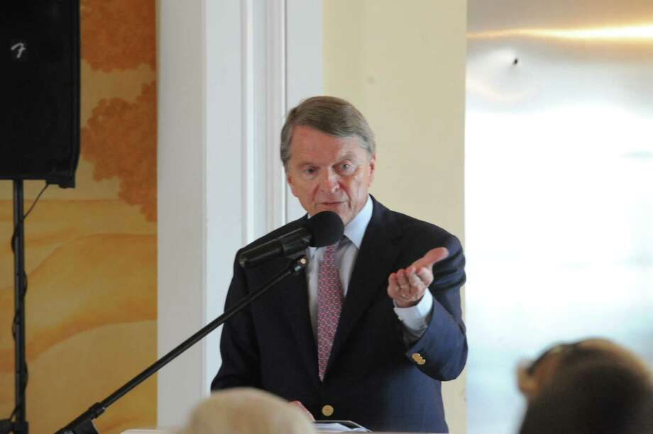 David Ogilvy speak at the Belle Haven Club at Greenwich, Sunday, April 28, 2013. The Greenwich Historical Society celebrate the 25th anniversary of its Greenwich Landmark program of recognizing houses with a reception at the Belle Haven Club, by presenting a plaque to the Club as a Greenwich landmark site for over a century. Five other structures to receive plaques to mark their value to Greenwich's heritage. Photo: Helen Neafsey / Greenwich Time