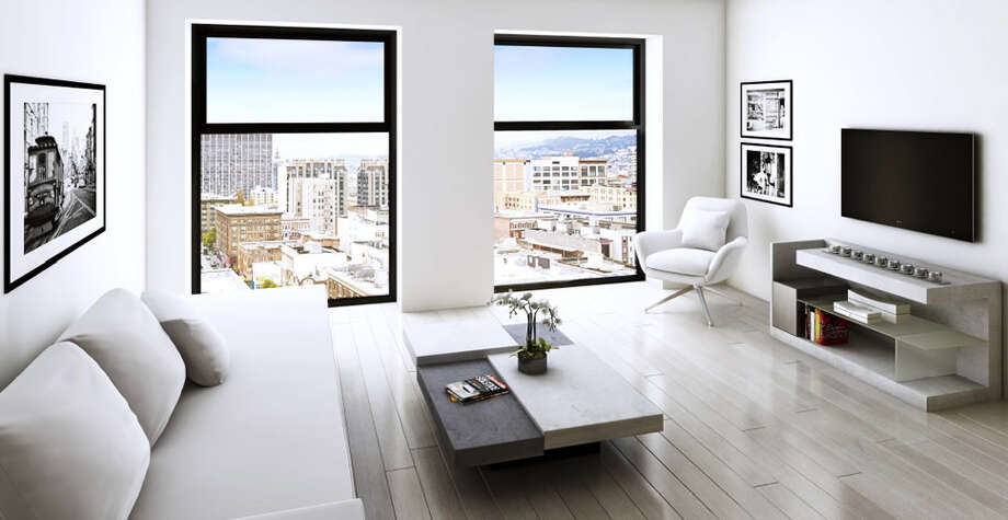 The living rooms will have an open floor plan and large windows overlooking downtown.