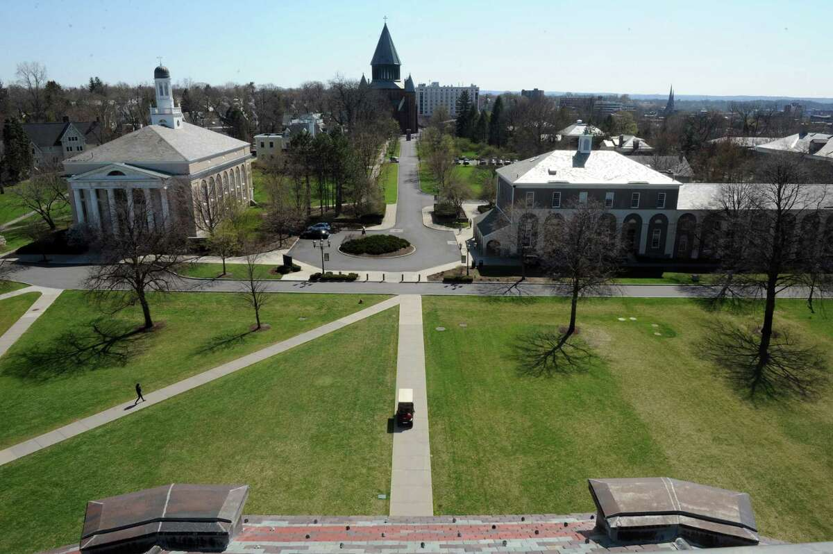 A view from the Nott Memorial of the Union College campus on Thursday April 25, 2013 in Schenectady, N.Y. (Michael P. Farrell/Times Union)