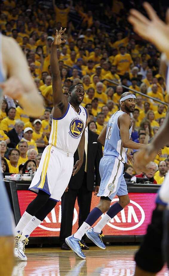 Draymond Green (23) celebrates his three point shot in the first half. The Golden State Warriors played the Denver Nuggets in Game 4 of the first round of the NBA playoffs at Oracle Arena in Oakland, Calif., on Sunday, April 28, 2013. Photo: Carlos Avila Gonzalez, The Chronicle