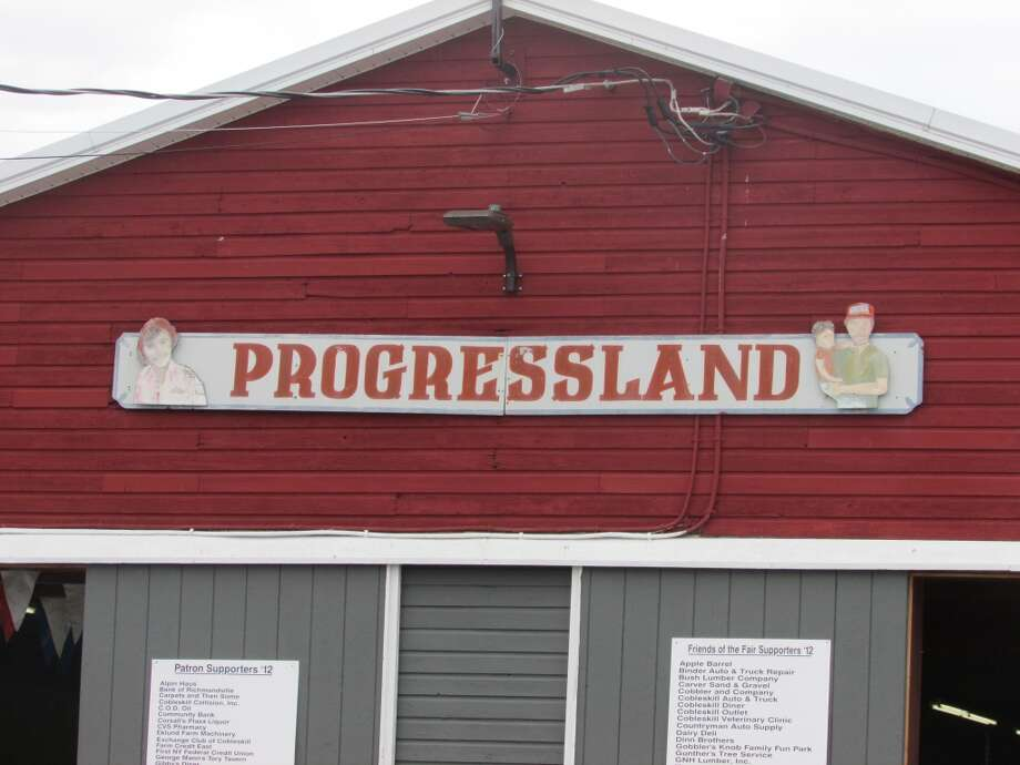 The main barn, Progressland where multiple booths, vendors and shows are held at the Maple Festival. Although, many activities are happening outside of it as well. Photo by Erik DeFruscio.