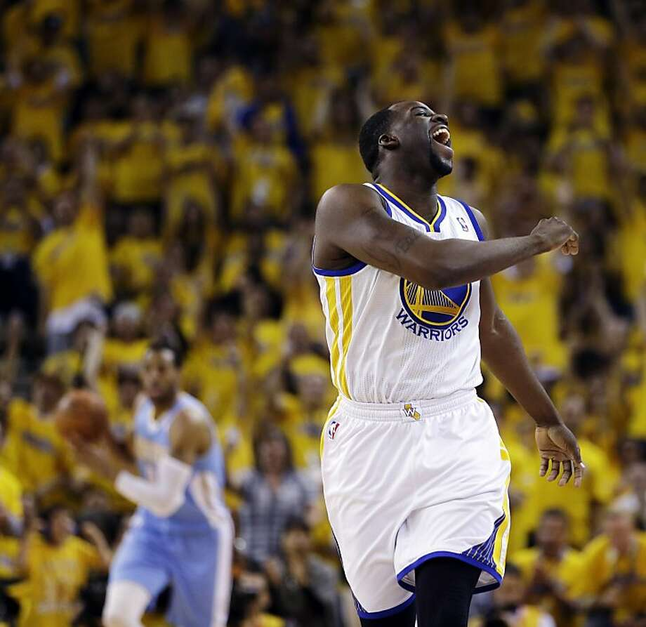 Golden State Warriors forward Draymond Green reacts after scoring against the Denver Nuggets during the first half of Game 4 in a first-round NBA basketball playoff series, Sunday, April 28, 2013, in Oakland, Calif. (AP Photo/Ben Margot) Photo: Ben Margot, Associated Press