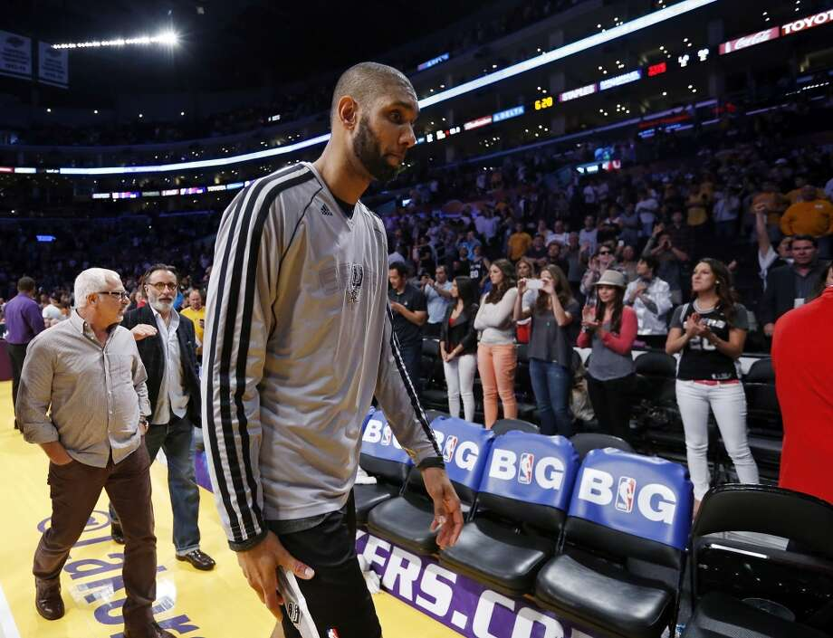 San Antonio Spurs' Tim Duncan walks off the court after game 4 in the first round of the NBA Playoffs against the Los Angeles Lakers Sunday April 28, 2013 at the Staples Center in Los Angeles, CA. The Spurs won 103-82.