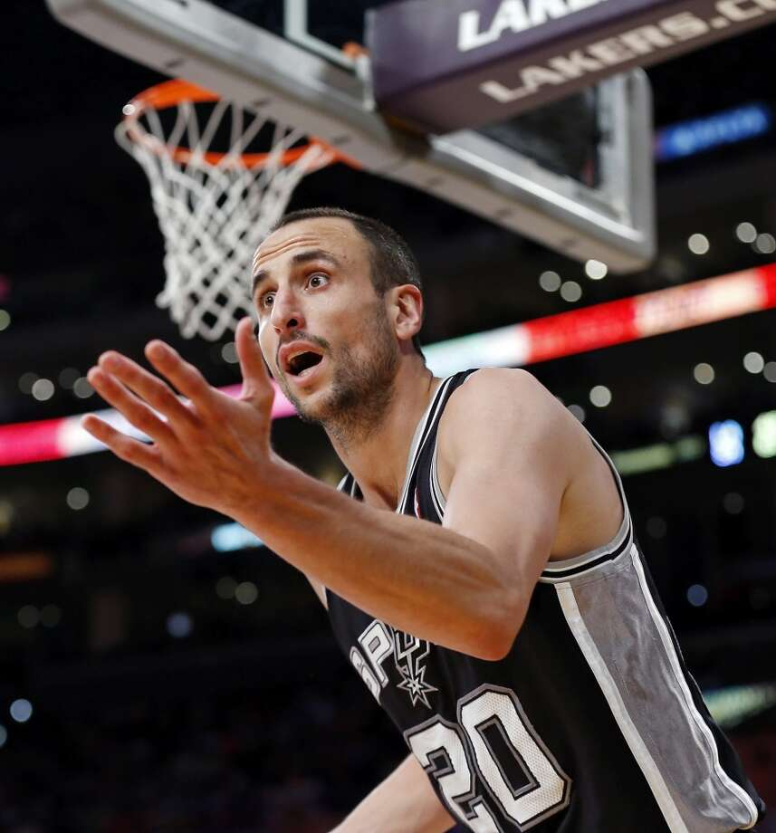 San Antonio Spurs' Manu Ginobili reacts after a play during second half action of game 4 in the first round of the NBA Playoffs against the Los Angeles Lakers Sunday April 28, 2013 at the Staples Center in Los Angeles, CA. The Spurs won 103-82.
