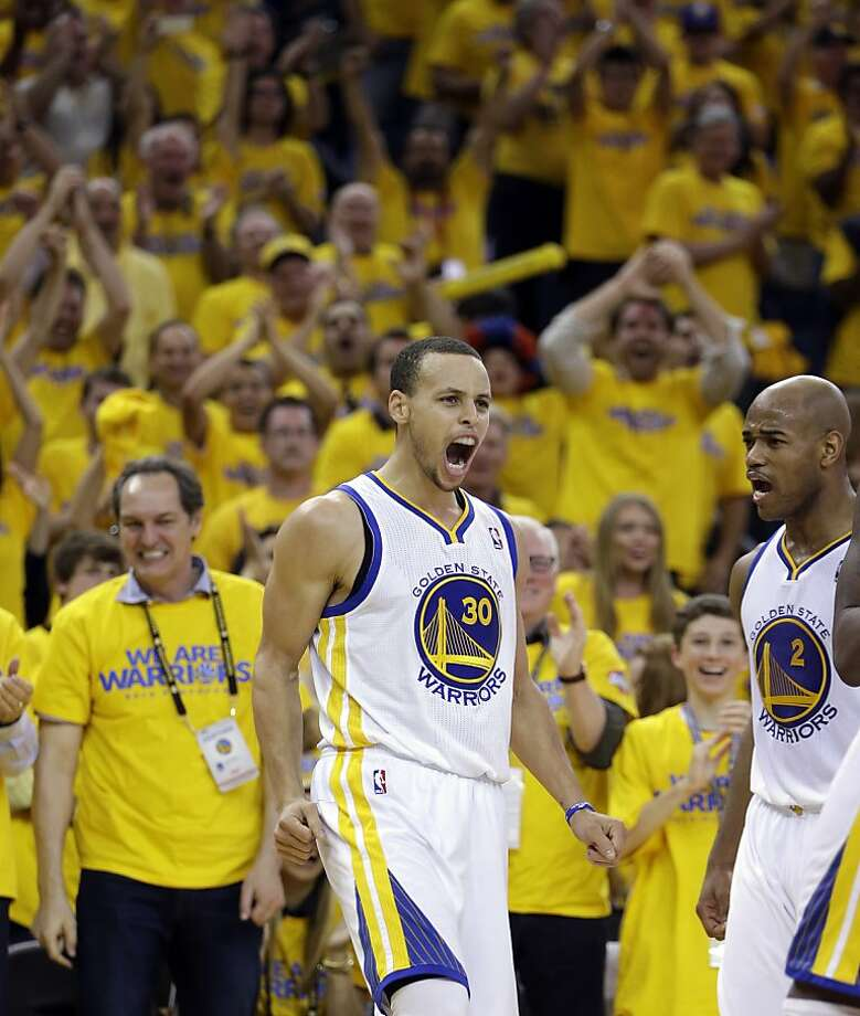 Golden State Warriors' Stephen Curry (30) reacts after scoring against the Denver Nuggets during the second half of Game 4 in a first-round NBA basketball playoff series on Sunday, April 28, 2013, in Oakland, Calif. (AP Photo/Ben Margot) Photo: Ben Margot, Associated Press