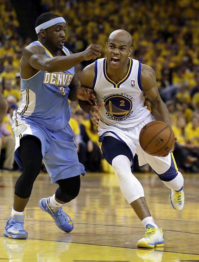 Denver Nuggets' Ty Lawson, left, guards Golden State Warriors' Jarrett Jack (2) during the second half of Game 4 in a first-round NBA basketball playoff series on Sunday, April 28, 2013, in Oakland, Calif. (AP Photo/Ben Margot) Photo: Ben Margot, Associated Press