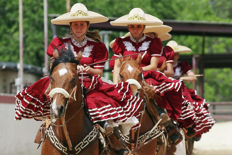 Members of Escaramuza Las Tapatias ride into the Charro Ranch arena during Fiesta Charreada put on by the San Antonio Charros Association, Sunday, April 28, 2013. Photo: JERRY LARA, San Antonio Express-News / © 2013 San Antonio Express-News