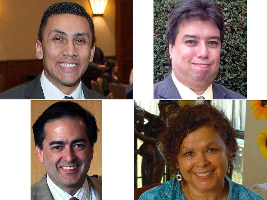 DISTRICT 7 CANDIDATES, CLOCKWISE FROM TOP LEFT: Incumbent Cris Medina, Michael A. Gonzales, Gloria Rodriguez and Carlos Zaldivar. Click here to read more about the District 7 race Photo: San Antonio Express-News And Courtesy Photos