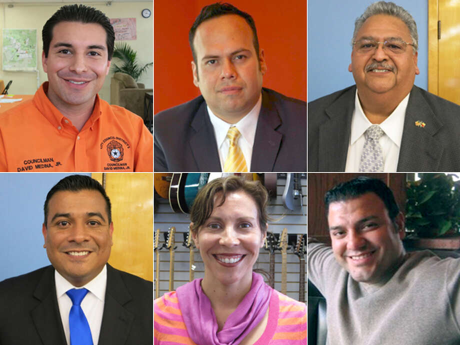 DISTRICT 5 CANDIDATES, CLOCKWISE FROM TOP LEFT: Incumbent David Medina Jr., Ricardo Briones, Richard Cardenas, Frank Ramirez, Shirley Gonzales and John Carlos Garcia. Click here to read more about the District 5 race Photo: San Antonio Express-News And Courtesy Photos