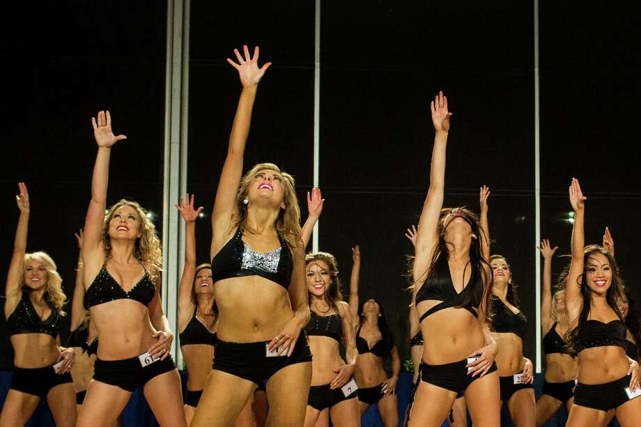 Young women show off their mastery of a rehearsed two-song dance routine for their last chance at becoming one of this upcoming season's Sea Gals during the final audition round Sunday, April 28, 2013, in the West Club Lounge at CenturyLink Field in Seattle. The top 60 candidates from previous auditions started the day from an original pool of 180 women. The day's cut reduced the final number to around 30. Photo: JORDAN STEAD, SEATTLEPI.COM / SEATTLEPI.COM