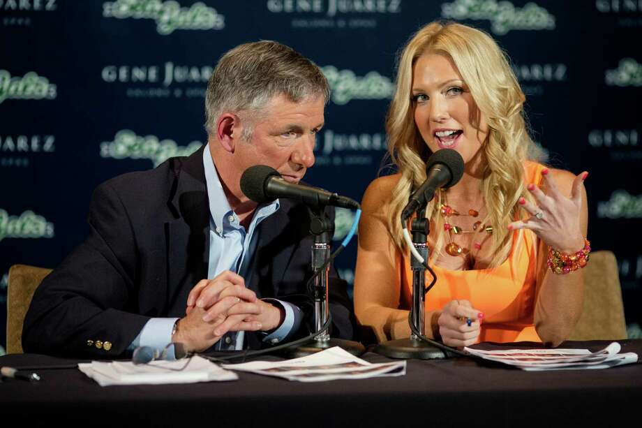 Hosts engage a live TV audience during the tryouts for this upcoming season's Sea Gals during the final audition round Sunday in the West Club Lounge at CenturyLink Field in Seattle. The top 60 candidates from previous auditions started the day from an original pool of 180 women. The day's cut reduced the final number to around 30. Photo: JORDAN STEAD, SEATTLEPI.COM / SEATTLEPI.COM