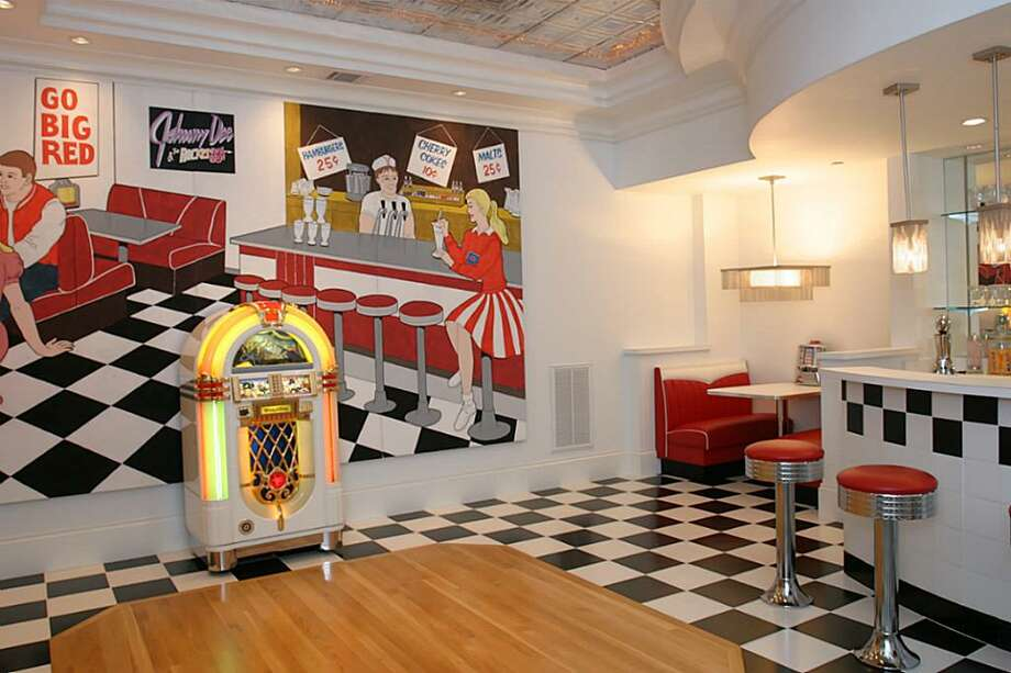 The 50''s Concession Room located on the 3rd floor outside the theater for all your concession needs. Make a milk shake, popcorn or select from the candy jars for your movie enjoyment. Complete with wood inlay dance floor and jukebox. Photo: HAR.com