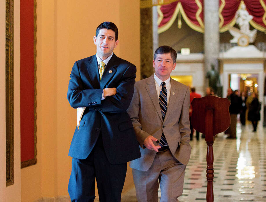 House Budget Committee Chairman Rep. Paul Ryan, R-Wis., left, and Rep. Jeb Hensarling, R-Texas walk to the House floor on Capitol Hill in Washington, Friday, Feb. 17, 2012, for the final vote on the payroll tax cut extension. Photo: J. Scott Applewhite, Associated Press / AP