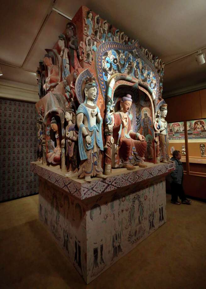 "The central pillar of Mogao Cave 432, from the Western Wei Dynasty, 535-556 AD, is presented in ""Dunhuang: Buddhist Art at the Gateway of the Silk Road,"" at the China Institute, in New York,  Tuesday, April 24, 2013. Photo: Richard Drew, AP / AP"