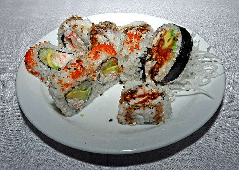 Traditional cooked rolls: California Roll, Shrimp Tempura Roll, and Spider Roll served at the Sushi 101 class at Tokyo Steak House & Sushi Bar on Interstate 10. Randy Edwards/cat5