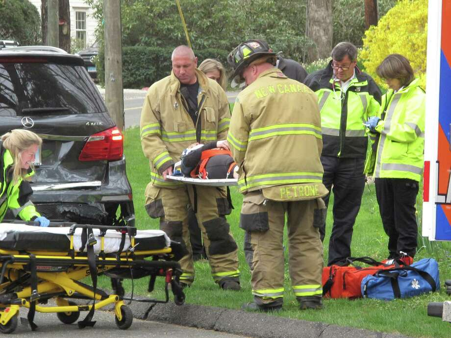 An accident on Smith Ridge Road and Michigan Road left one woman hospitalized early Monday afternoon. April 29, 2013, New Canaan, Conn. Photo: Tyler Woods