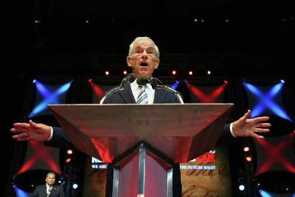 TAMPA, FL - AUGUST 26: Former Republican presidential candidate U.S. Rep. Ron Paul (R-TX) speaks during a rally in the Sun Dome at the University of South Florida on August 26, 2012 in Tampa, Florida.   The rally was being held on the eve of the start of the Republican's nominating convention which is scheduled to convene on August 27 and will hold its first session on August 28 as Tropical Storm Isaac threatens disruptions due to its proximity to the Florida.  (Photo by Joe Raedle/Getty Images)
