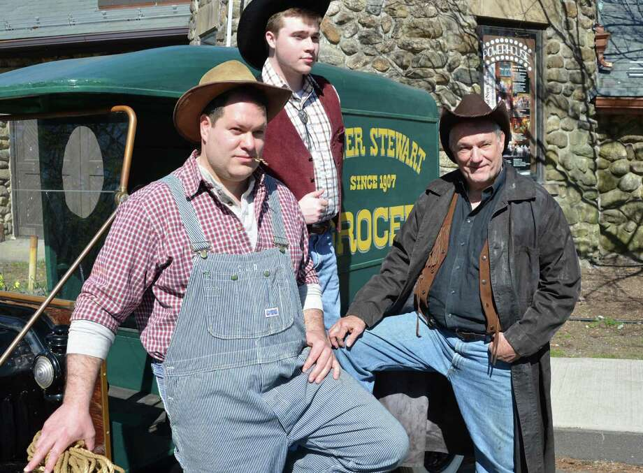 "New Canaan actors Christopher Beaurline, Tyler Giggi and Richard Stewart are among the cast members in the Town Players of New Canaanís production of ""Of Mice and Men,"" which opens Friday, May 3 at the Powerhouse Theatre at Waveny Park. There are posed with Walter Stewart's Model T delivery van, which was in use in the period in which John Steinbeck's classic American story takes place. Photo: Contributed"