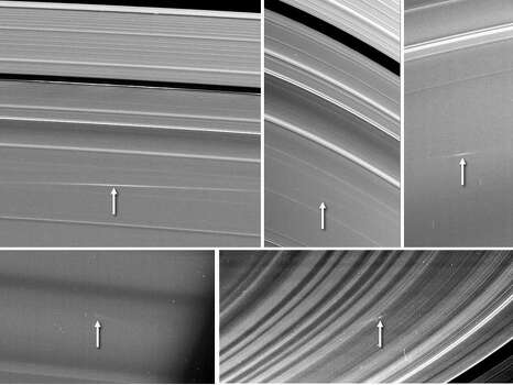 NASA: Five images of Saturn's rings, taken by NASA's Cassini spacecraft between 2009 and 2012, show clouds of material ejected from impacts of small objects into the rings. Clockwise from top left are two views of one cloud in the A ring, taken 24.5 hours apart, a cloud in the C ring, one in the B ring, and another in the C ring. Arrows in the annotated version point to the cloud structures, which spread out at visibly different angles than the surrounding ring features.   The clouds of ejected material were visible because of the angle sunlight was hitting the Saturn system and the position of the spacecraft. The first four images were taken near the time of Saturn equinox, when sunlight strikes the rings at very shallow angles, nearly directly edge-on. During Saturn equinox, which occurs only every 14.5 Earth years, the ejecta clouds were caught in sunlight because they were elevated out of the ring plane. The last image was taken in 2012 at a very high-phase angle, which is the sun-Saturn-spacecraft angle. This geometry enabled Cassini to see the clouds of dust-sized particles in the same way that dust on a surface is easier to see when the viewer is looking toward a light source.   The angle that the clouds are canted gives the time elapsed since the cloud was formed (see PIA14941). The A ring cloud formed 24 hours before its first apparition in the top left box; it formed 48.5 hours before the top middle image. The other three clouds were approximately 13 hours, four hours, and one hour old (respectively) at the times they were seen. See PIA11674 for more information on ring impacts.   The Cassini-Huygens mission is a cooperative project of NASA, the European Space Agency and the Italian Space Agency. The Jet Propulsion Laboratory, a division of the California Institute of Technology in Pasadena, manages the mission for NASA's Science Mission Directorate, Washington, D.C. The Cassini orbiter and its two onboard cameras were designed, developed and assembled& Ph