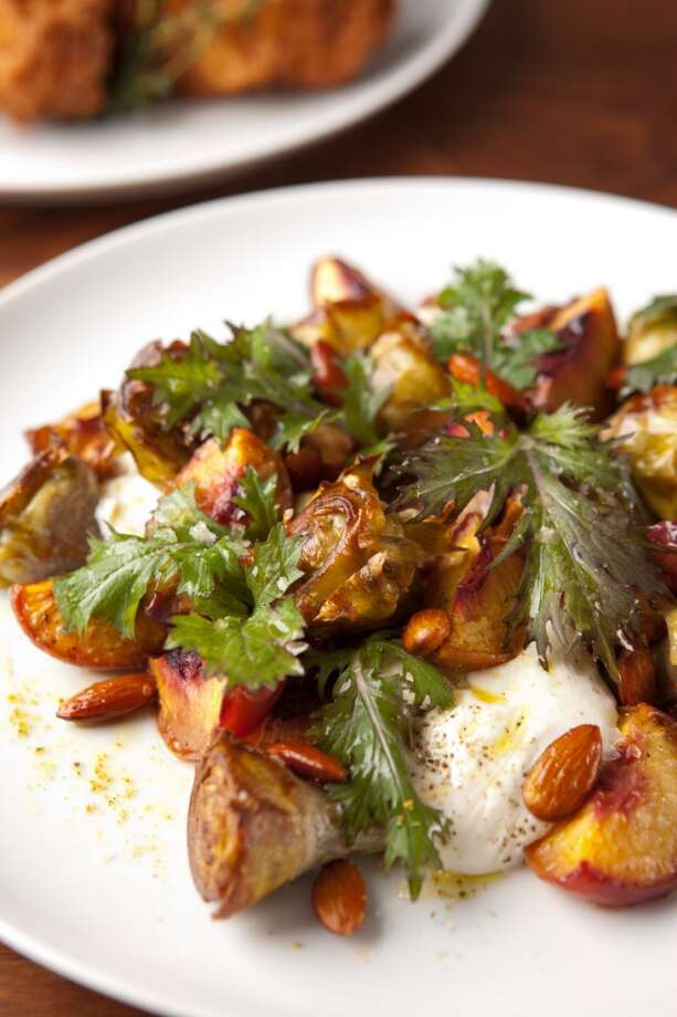 Crispy artichokes, burrata cheese, roasted apricots, smoked almonds & mizuna ($14)