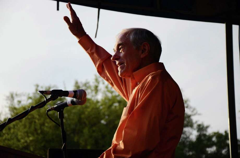 Ron Paul waves at the crowd during his speech at the University of Texas LBJ Library Lawn on Thursday April 26, 2012, in Austin. Photo: Rebeca Rodriguez, Associated Press / Rebeca Rodriguez