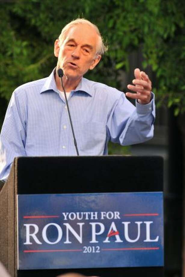 GOP presidential candidate Ron Paul speaks during a town hall meeting at Main Plaza on Thursday, April 12, 2012. Photo: Robin Jerstad, For The Express-News