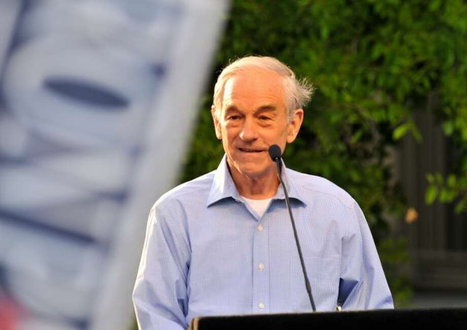 GOP presidential candidate Ron Paul speaks to supporters at a rally in Main Plaza on Thursday, April 12, 2012. Photo: Robin Jerstad, For The Express-News