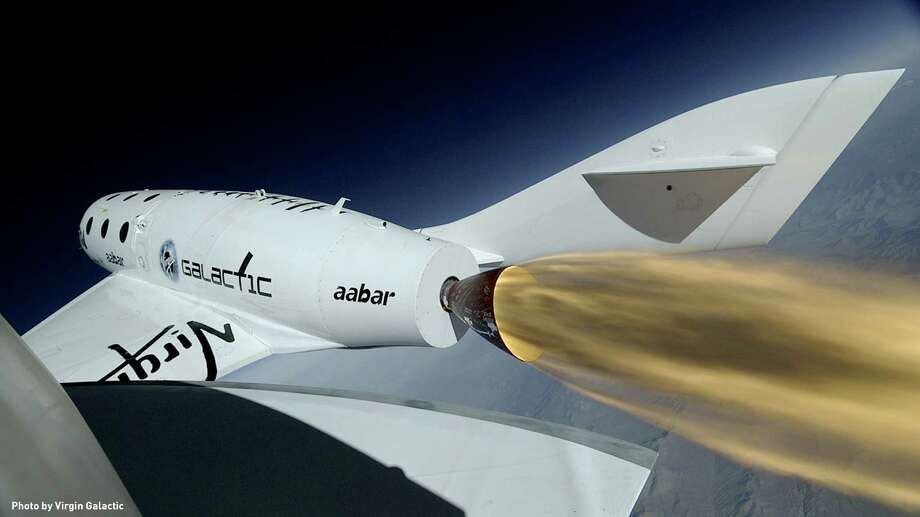 Virgin Galactic's SpaceShipTwo flies under rocket power for the first time, on Monday, April 29, 2013. This photo was taken from a remote camera located at top of the ships' tail. Photo: Virgin Galactic