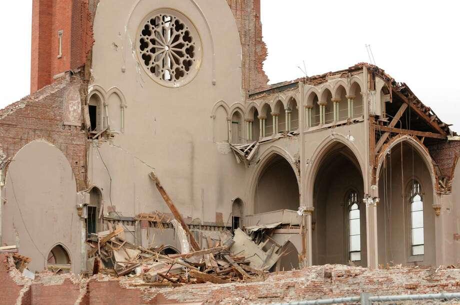 Demolition continues at the former St. Patrick's Church on Monday, April 29, 2013, in Watervliet, N.Y.  (Lori Van Buren / Times Union) Photo: Lori Van Buren / 10022173A