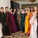 """April 26: Designer Zac Posen (center) headlines the San Francisco Ballet Auxiliary's annual fashion show fundraising luncheon at the Fairmont Hotel in S.F., bringing anatomical, architectural, glamorous gowns to the runway. He's influenced by body mechanics, and notes: """"It's important for women to embrace themselves instead of trying to hide their bodies. It never works."""""""