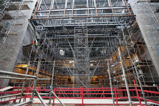 Workers use scaffolding while working in the performance hall of the Tobin Center for the Performing Arts, Monday, April 29, 2013. The $203 million renovation is scheduled for a May 2014 completion date. Photo: JERRY LARA, San Antonio Express-News / © 2013 San Antonio Express-News