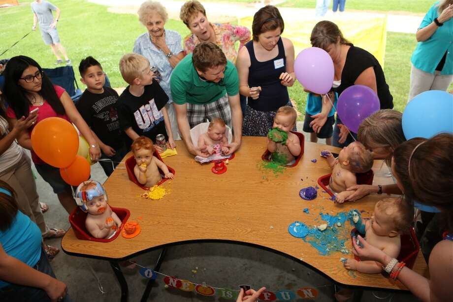 The Perkins sextuplets of Pearland, who turned 1 on April 23, 2012 marked their first birthday with a party. Photo by Wally Crow/Texas Children's Hospital.
