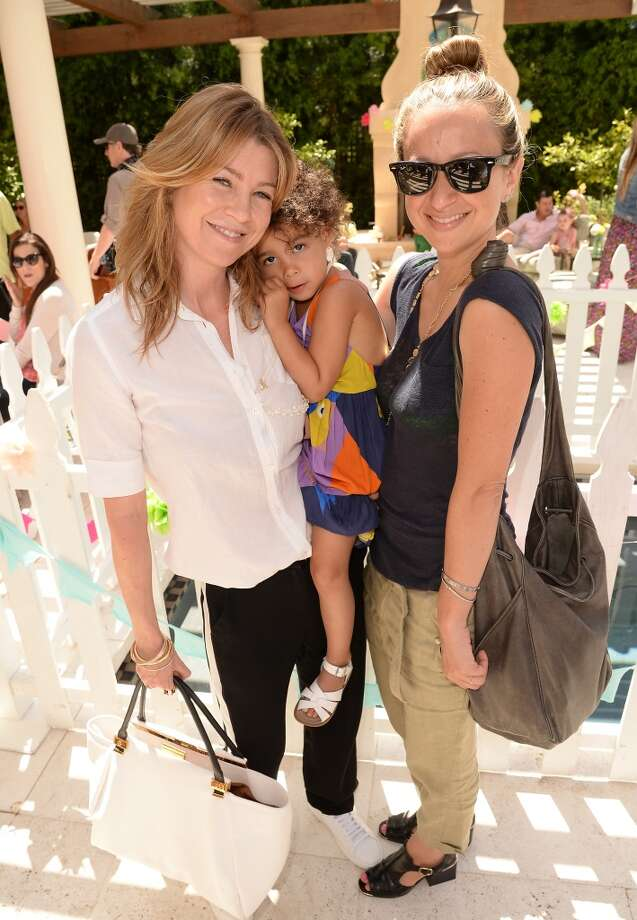 LOS ANGELES, CA - APRIL 27:  Actress Ellen Pompeo and designer Jennifer Meyer  attend the Huggies Snug & Dry and Baby2Baby Mother's Day Garden Party held on April 27, 2013 in Los Angeles, California.  (Photo by Jason Merritt/Getty Images for Baby2Baby)
